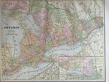 Antique Color Map of Ontario-circa 1893