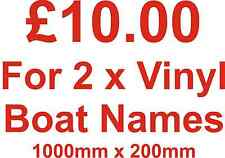 2 x vinyl boat names stickers/decals 1000mm x 200mm