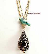 VINTAGE 3D TORQUOISE BIRD NEST BRONZE PENDANT GOLD LONG CHAIN NECKLACE GIFT