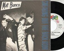 Matt white 45 RPM Disc Made in Italy sneaking out the back door 1984