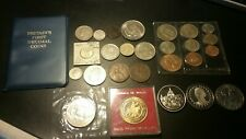 BRITISH EMPIRE COINS LOT . DECIMAL SET ,1891 ONE PENNY ,  SILVER COINS , MEDALS+
