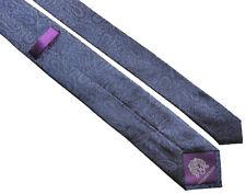 WILLIAM HUNT Savile Row Classic Mens Blue Paisley Floral Silk Tie >
