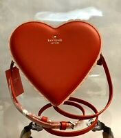 NWT Kate Spade CHOCOLATE HEART Red Leather Pink Scalloped Trim Crossbody Bag