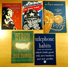 5 Telephone Ad Books Telephoning In War Time Wired 4 Sound 1940 WWII Homefront