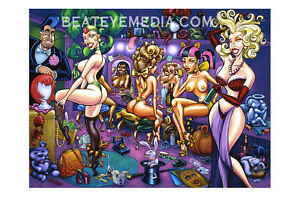 PIZZ-PRINT-PINUP,COMIX,BURLESQUE,BIll WARD,Bettie Page,pin up,Comics,comic art