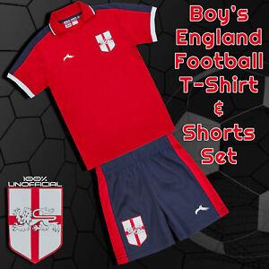 Kids Baby Boys England Home Football Soccer Red T-Shirt Short Set 6 - 24 Months