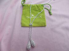 BRAND NEW Chamilia  Sterling Silver TIE DROP Necklace  CRYSTAL SWAROVSKI 0211-01