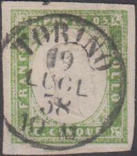 BM20-328 Sardegna c.5 verde giallo chiaro I composizione 1857 (13Af) usato