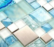 11-PCS Hand-Painted Blue Beach Glass Backsplash Tile Silver Stainless Steel MH10