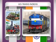 Niger 2017 MNH Indian Trains Locomotives 4v M/S Railways Rail Stamps