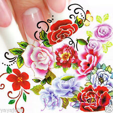 11 Sets Flower Nail Art Decal Water Slide Transfer Temporary Tattoo Stickers W48