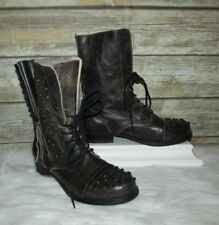 ALDO Black Brown Distressed Leather Studded 9-Eye Lace Up Combat Boots Sz 8