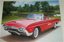 1963 Ford Thunderbird Sport Roadster car print (red, no top)