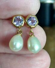 Pretty Hallmarked 9ct Yellow Gold Pearl & Amethyst Earrings