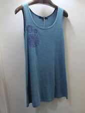 GUDRUN SJODEN S Cotton Blend Tank Top Anemon Striped Embroidered Blue Green NEW