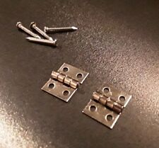 Small Tiny Miniature Silver Hinges for Fairy House Door Dolls House Smoking Box