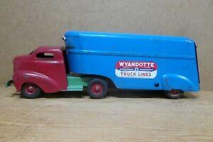 1940s WYANDOTTE TRUCK LINES SEMI, Bullnose Cab & Enclosed Trailer, All Original