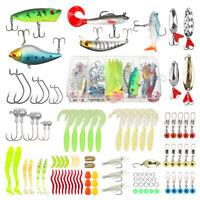 Soft Fishing Lures Kit Crankbaits Jig Hooks Minnow Spinner Baits Bass Tackle Box