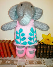 Elephant Girl & Removable Dress - Hand Knitted Soft Toy - New Custom Crafted