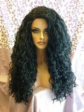 Free Shipping Quality Lace Front Wig - Brazilian Top Braid Wavy Thick Black Hair