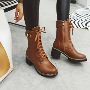 Womens Casual Mid-calf Boots Shoes Chunky Mid Heel Round Toe Buckle Punk Combat