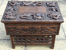 Carved Wooden Chinese Dragon Box On Stand