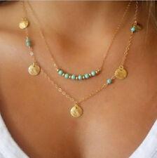 Women's Gold Plated Turquoise Imitation Double Layer Pendant Necklace Boho