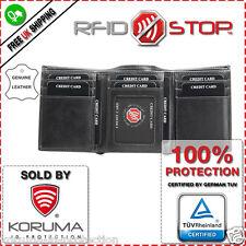 Custodia TRIPLA IN PELLE SLIM Portafoglio con RFID senza contatto Debito Carte di credito Protezione