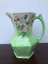 Beautiful Vintage Malings Pottery Jug, Lime Green with embossed blossom 7.5""