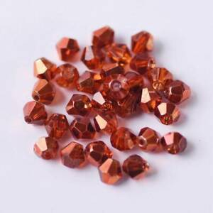 Wholesale 3mm/4mm/6mm Plated Bicone Faceted Crystal Glass Loose Spacer Beads lot