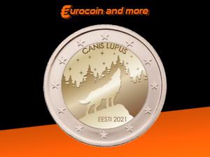 2 Euro Estland 2021 Nationaltier - Wolf unc.