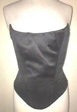 Sassy Black Satin Boned Corset Top Size 14.