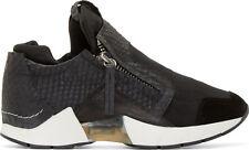NWT CINZIA ARAIA Black Womens Snake Embossed Sneakers Shoes Bassa Italy SZ US8