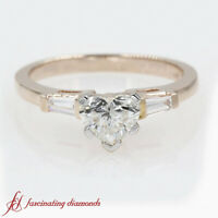 Heart Diamond And Tapered Baguette 3 Stone Bar Set Engagement Ring 0.90 Carat