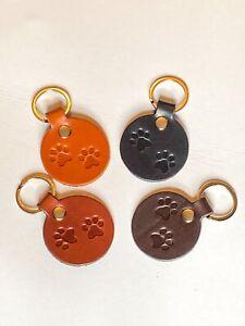 paw print keyring/animal lover key ring/pet keyring/ finest quality leather