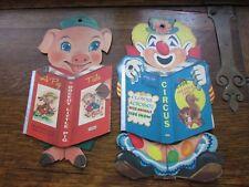 PAIR VINTAGE PIN UP STORY BOOK PIG & CLOWN