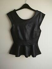 Miss Selfridge UK 10 Black Faux Leather Top Used
