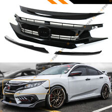 FOR 16-18 HONDA CIVIC GLOSSY BLK RS Si STYLE FRONT GRILLE+HOOD BUMPER TRIM COVER