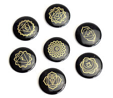 7 Pieces Round Ultrathin Black Agate Palm Stones Engraved Chakra Symbols Set