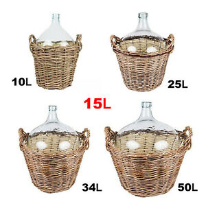 Demijohn in Wicker Basket from 10 to 34L with Bung and Airlock - Peasant Style