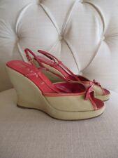 1365899ff4 PRADA Tan Canvas Red Leather Trim Bow Peep Toe Wedge Sandals Shoes 37, 6.5 -