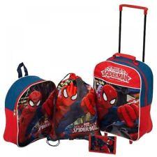 MARVEL Spiderman 4 PC Set Di Bagagli Da Viaggio Trolley Borsa Zaino Portafoglio Swim Bag
