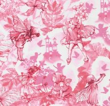 Cicely Mary Barker Flower Fairies Dream Land Characters on Pink Fabric - FQ