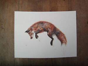 Watercolour fox, print of original painting A3 size on watercolour paper