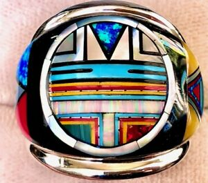 WARRIOR RING FACE IN THE STONE Men's 12 Opal Turquoise HUGE big boy MUSEUM  Y