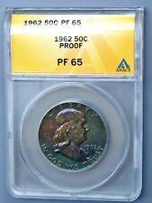 ANACS PF65 Blue Toned 1962 Proof Ben Franklin Half Dollar (6228539)