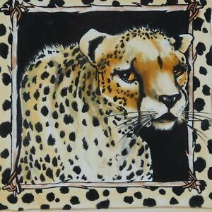Cheetah Decorative Plate Ceramic Whimsical Animal Platter Tray M Stark Buckley