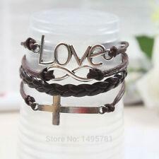 Women Girls Black Silver Colour Love Faux Leather Bracelet Fashion Jewellery