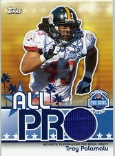 TROY POLAMALU ( BLUE ) PRO BOWL PATCH TOPPS PLAYER-WORN JERSEY CARD STEELERS