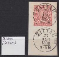 """NDP - Mi. 4, 1 Groschen, K1 """"ZITTAU / 27 Aug. 1868 / 4 - 5 N"""" auf Briefstück !!"""